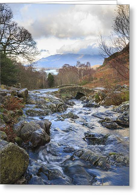 Roadway Greeting Cards - Ashness Bridge The lake District Greeting Card by Chris Smith