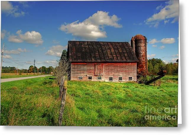 Red Roofed Barn Greeting Cards - Ashtabula County Barn Greeting Card by Tony  Bazidlo
