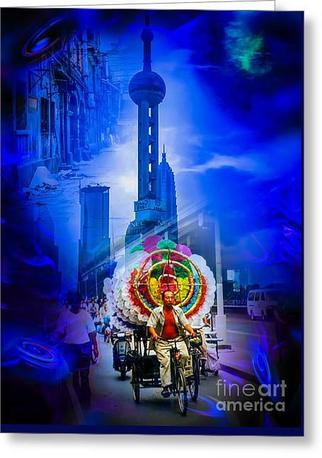 Fantasy World Greeting Cards - Asia World - Shanghai, Past and Future Greeting Card by Walter Zettl