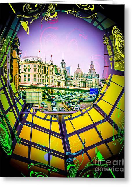 Fantasy World Greeting Cards - Asia World - The Bund, Shanghai Greeting Card by Walter Zettl