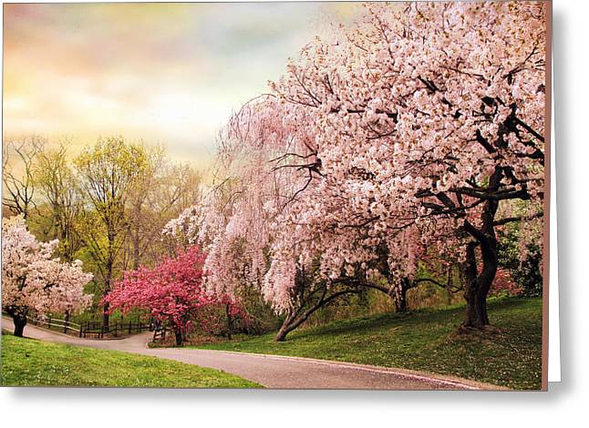 Cherry Blossoms Digital Greeting Cards - Asian Cherry Grove Greeting Card by Jessica Jenney