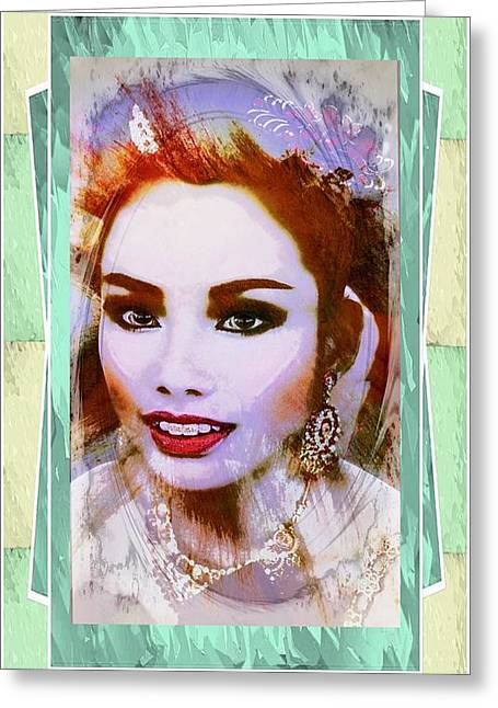 Portaits Mixed Media Greeting Cards - Asian Culture Pop Art Girl Greeting Card by Ian Gledhill