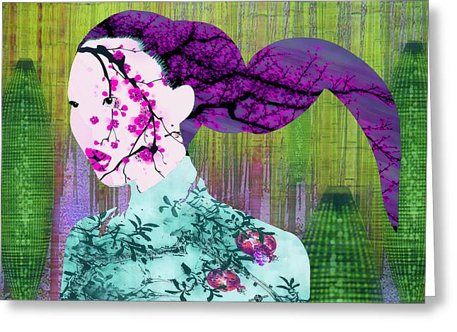 Hair Abstract Art Greeting Cards - Asian Flower Woman Purple Greeting Card by Tony Rubino