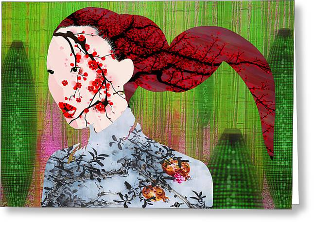 Oil Lamp Mixed Media Greeting Cards - Asian Flower Woman Red Greeting Card by Tony Rubino