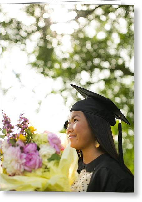Adolescence Greeting Cards - Asian Girl In Graduation Cap Greeting Card by Gillham Studios