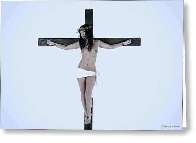 Mulher Greeting Cards - Asian Jesus on cross Greeting Card by Ramon Martinez
