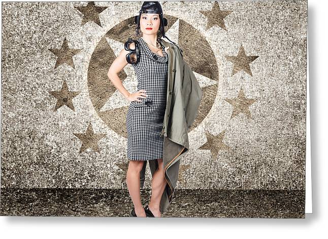 Asian Military Pinup Girl In Retro Air Force Style Greeting Card by Jorgo Photography - Wall Art Gallery