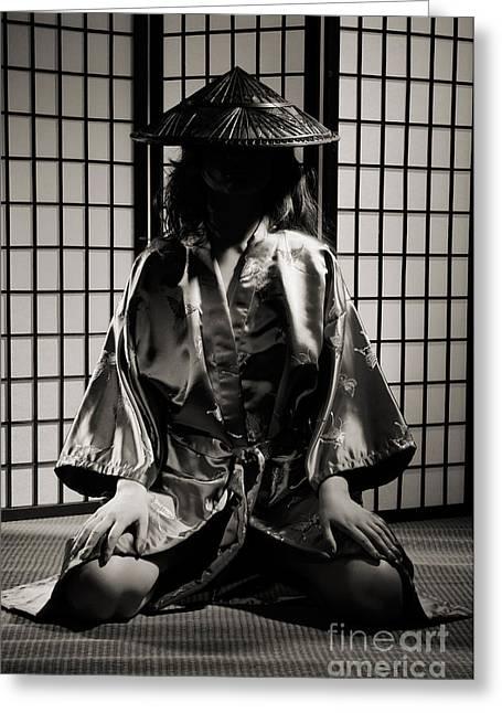 Shoji Greeting Cards - Asian Woman in Kimono Greeting Card by Oleksiy Maksymenko