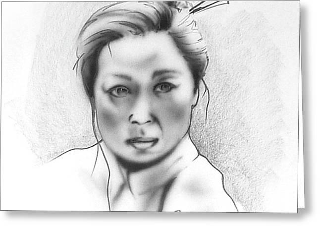 Asian Woman Greeting Card by Robert Martinez