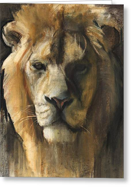 Hunter Pastels Greeting Cards - Asiatic Lion Greeting Card by Mark Adlington