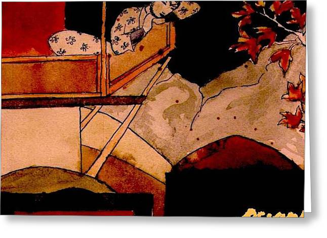 Asiatic Woman In Autumn Greeting Card by Ocean