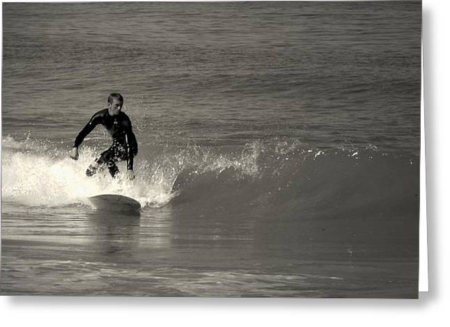 Pacific Ocean Prints Greeting Cards - Asilomar Surfing In BlackAndWhite Greeting Card by Joyce Dickens