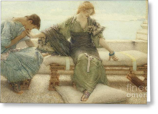 Bracelet Greeting Cards - Ask me no more....for at a touch I yield Greeting Card by Sir Lawrence Alma-Tadema