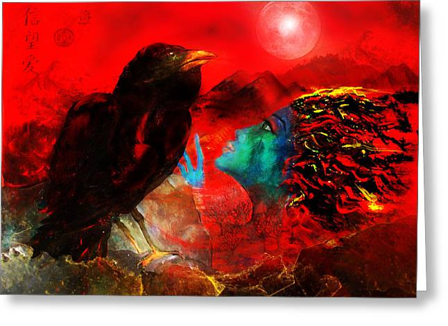 Ask The Raven II Greeting Card by Patricia Motley