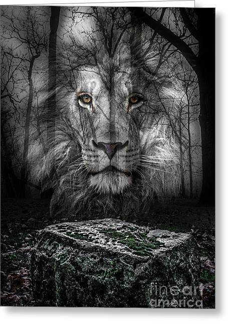 Table Greeting Cards - Aslan And The Stone Table Greeting Card by Michael Arend