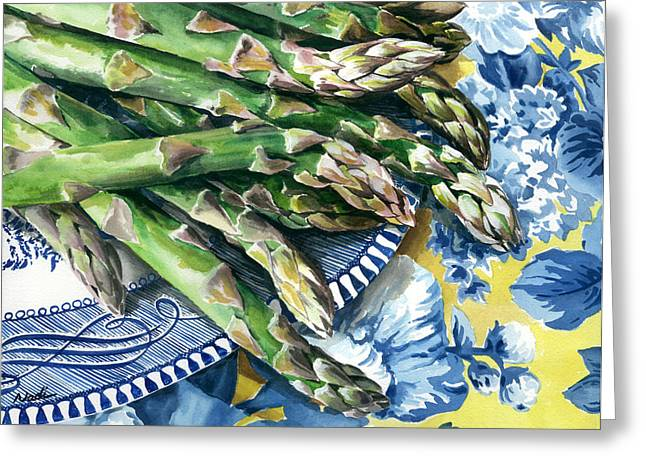 Nadi Spencer Greeting Cards - Asparagus Greeting Card by Nadi Spencer