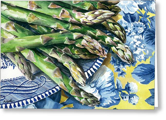 Best Sellers -  - Nadi Spencer Greeting Cards - Asparagus Greeting Card by Nadi Spencer