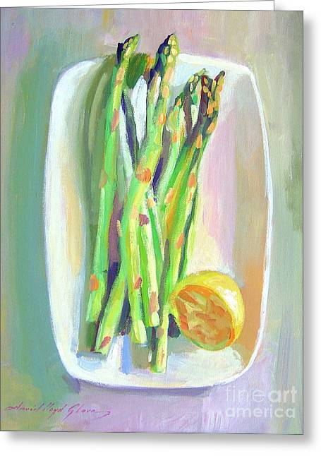 Asparagus Plate Greeting Card by David Lloyd Glover