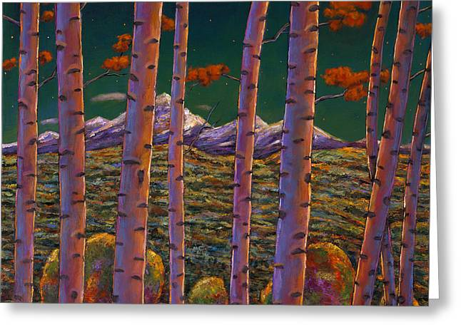 Autumn Landscape Paintings Greeting Cards - Aspen at Night Greeting Card by Johnathan Harris