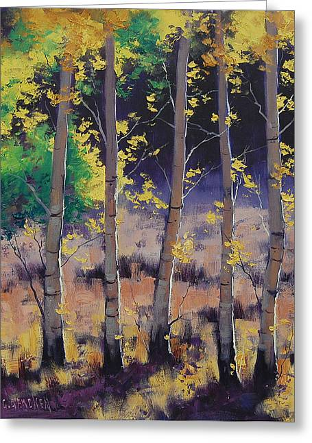 Blaze Greeting Cards - Aspen colors Greeting Card by Graham Gercken