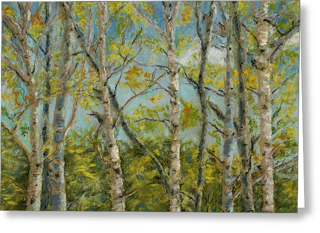 Fall Colors Pastels Greeting Cards - Aspen Glow Greeting Card by Mary Benke