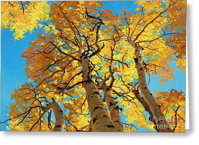 Fall Aspens Greeting Cards - Aspen Sky High 2 Greeting Card by Gary Kim