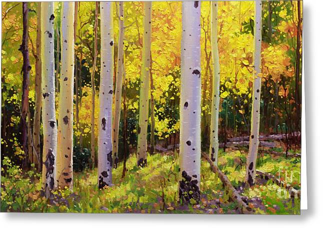 Fall Aspens Greeting Cards - Aspen Symphony Greeting Card by Gary Kim
