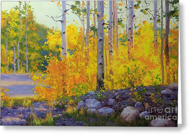 National Paintings Greeting Cards - Aspen Vista Greeting Card by Gary Kim