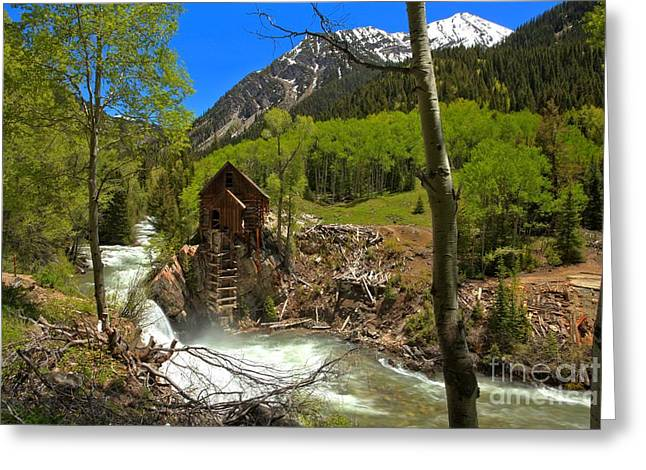 Crystal Mill Greeting Cards - Aspens Around The Crystal Mill Greeting Card by Adam Jewell