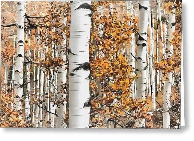 Fall Trees Greeting Cards - Aspens in Autumn Greeting Card by Richard Jungst