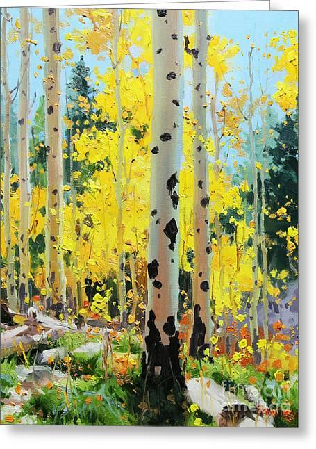 Aspens In Golden Light Greeting Card by Gary Kim