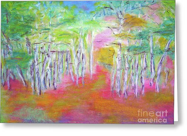 Barbara Anna Knauf Greeting Cards - Aspens in Spring Greeting Card by Barbara Anna Knauf