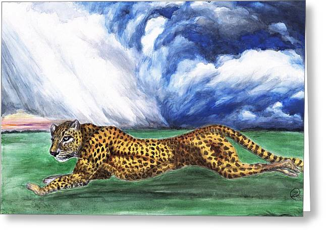 Leopard Running Greeting Cards - Assault - Leopard and Storm Greeting Card by Zong Yi