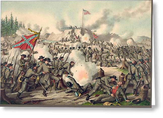 Confederate Flag Greeting Cards - Assault on Fort Sanders Greeting Card by American School