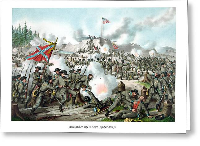 Sanders Greeting Cards - Assault On Fort Sanders Greeting Card by War Is Hell Store