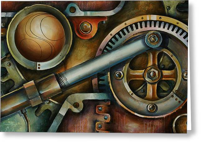 Gear Paintings Greeting Cards - Assembled Greeting Card by Michael Lang
