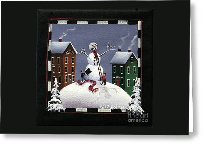 Catherine Greeting Cards - Assembling Frosty Greeting Card by Catherine Holman
