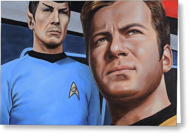Star Trek Paintings Greeting Cards - Assessing a Formidable Opponent Greeting Card by Kim Lockman