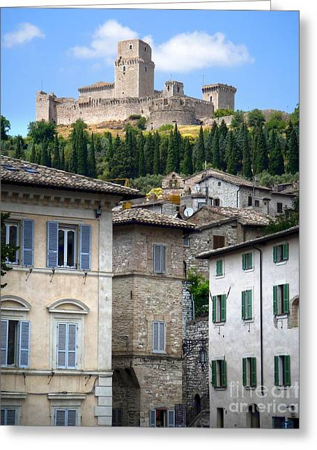 Assisi Italy - Rocca Maggiore - 02 Greeting Card by Gregory Dyer