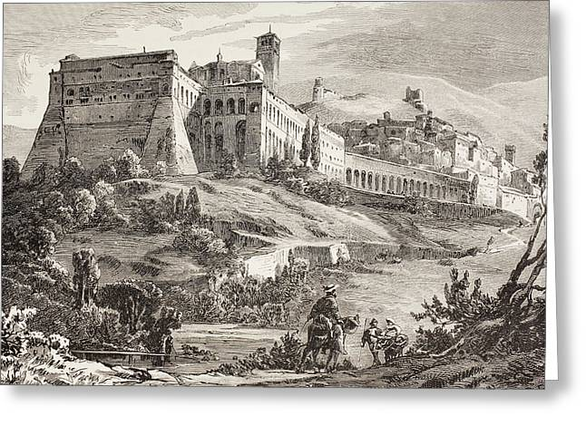 1880s Drawings Greeting Cards - Assisi, Italy In The Late 19th Century Greeting Card by Vintage Design Pics
