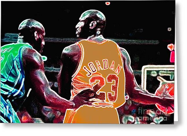Michael Jordan Greeting Cards - Assist Greeting Card by Brandon Ramquist