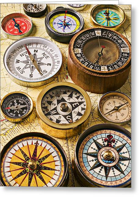 Concept Photographs Greeting Cards - Assorted compasses Greeting Card by Garry Gay