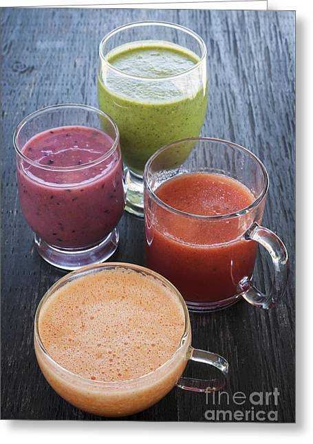 Smoothie Greeting Cards - Assorted smoothies Greeting Card by Elena Elisseeva