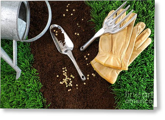 Turf Greeting Cards - Assortment of garden tools on earth Greeting Card by Sandra Cunningham