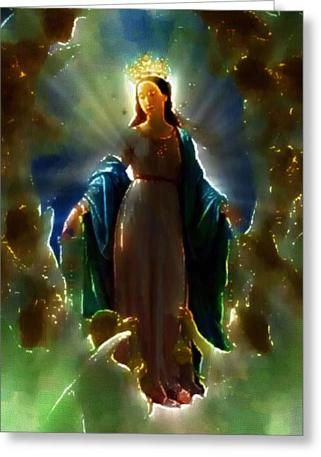 Icons Prints On Canvas Greeting Cards - Assumption of Mother Mary Greeting Card by Mario Carini
