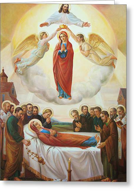 Rosary Digital Art Greeting Cards - Assumption Of The Blessed Virgin Mary Into Heaven Greeting Card by Svitozar Nenyuk