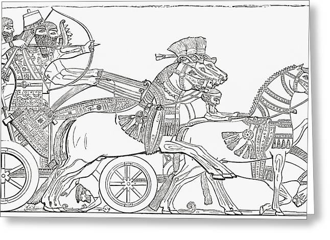 Civilization Greeting Cards - Assyrian War Chariot. From The Imperial Greeting Card by Ken Welsh