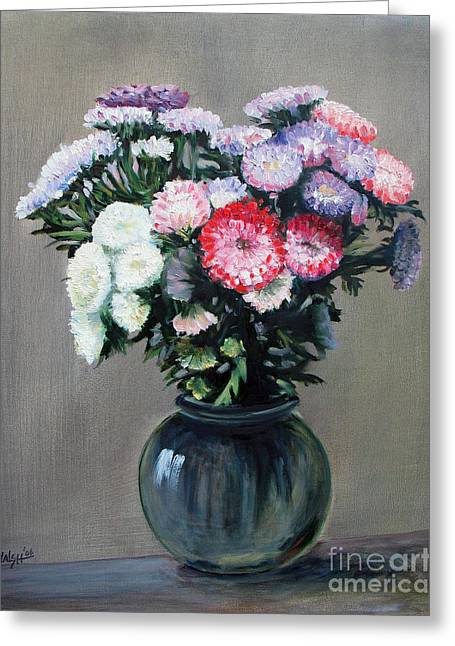 Aster Paintings Greeting Cards - Asters Greeting Card by Paul Walsh