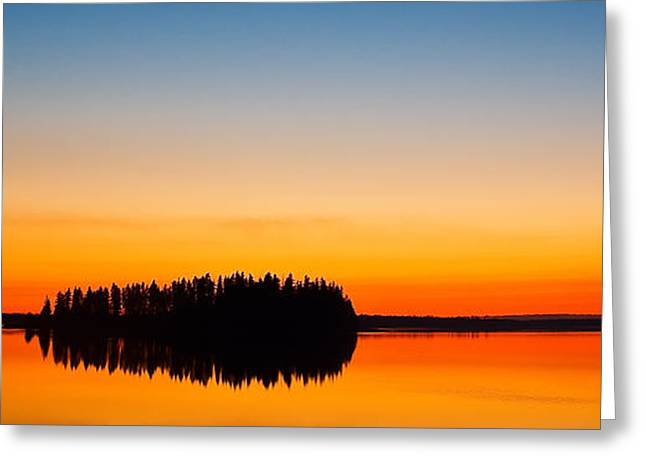 Trees Reflecting In Water Greeting Cards - Astotin Sunset Greeting Card by Ian MacDonald