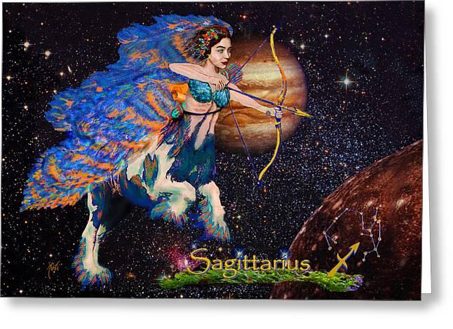 Constellations Greeting Cards - Astrology Sagittarius Angel  Greeting Card by Michele  Avanti